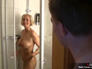 Busty blonde wife sucking passifier